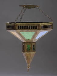 GROUP OF MOROCCAN INFLUENCED METAL AND GLASS LIGHT FIXTURES