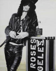 BLACK AND WHITE PORTRAIT OF SLASH