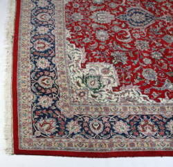 RED BORDERED ORIENTAL AREA RUG