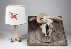 MOUNTED RAMS HEAD SKULL WITH RATTLESNAKE AND DEER HOOF LAMP