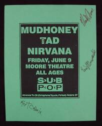 KURT COBAIN AND OTHERS SIGNED HANDBILL