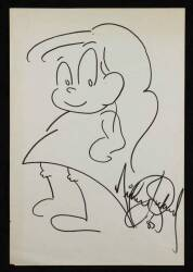 MICHAEL JACKSON SIGNED AND DATED DRAWING