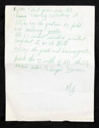 MICHAEL JACKSON HANDWRITTEN NOTE