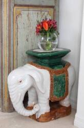 PAIR OF CERAMIC ELEPHANT PLANT STANDS