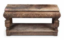 OAK CHIP CARVED TWO TIER STAND