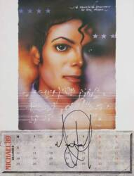 MICHAEL JACKSON SIGNED CALENDAR PAGE