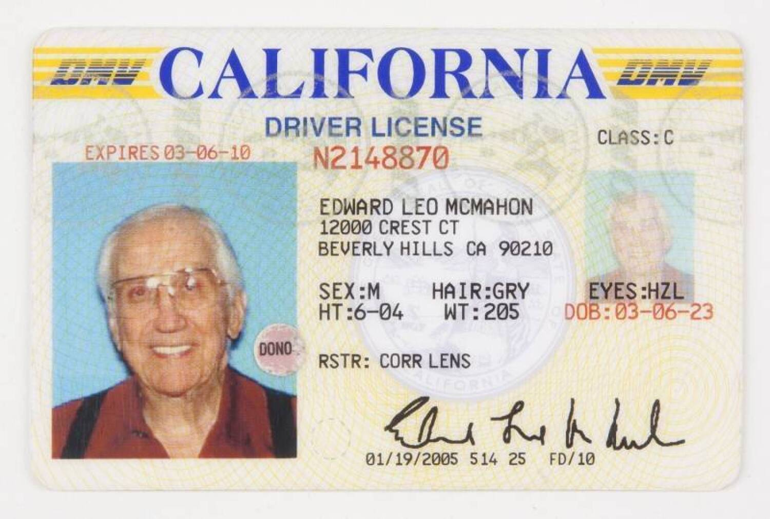 Price 400 License - 2005 Mcmahon Driver's Current California Ed