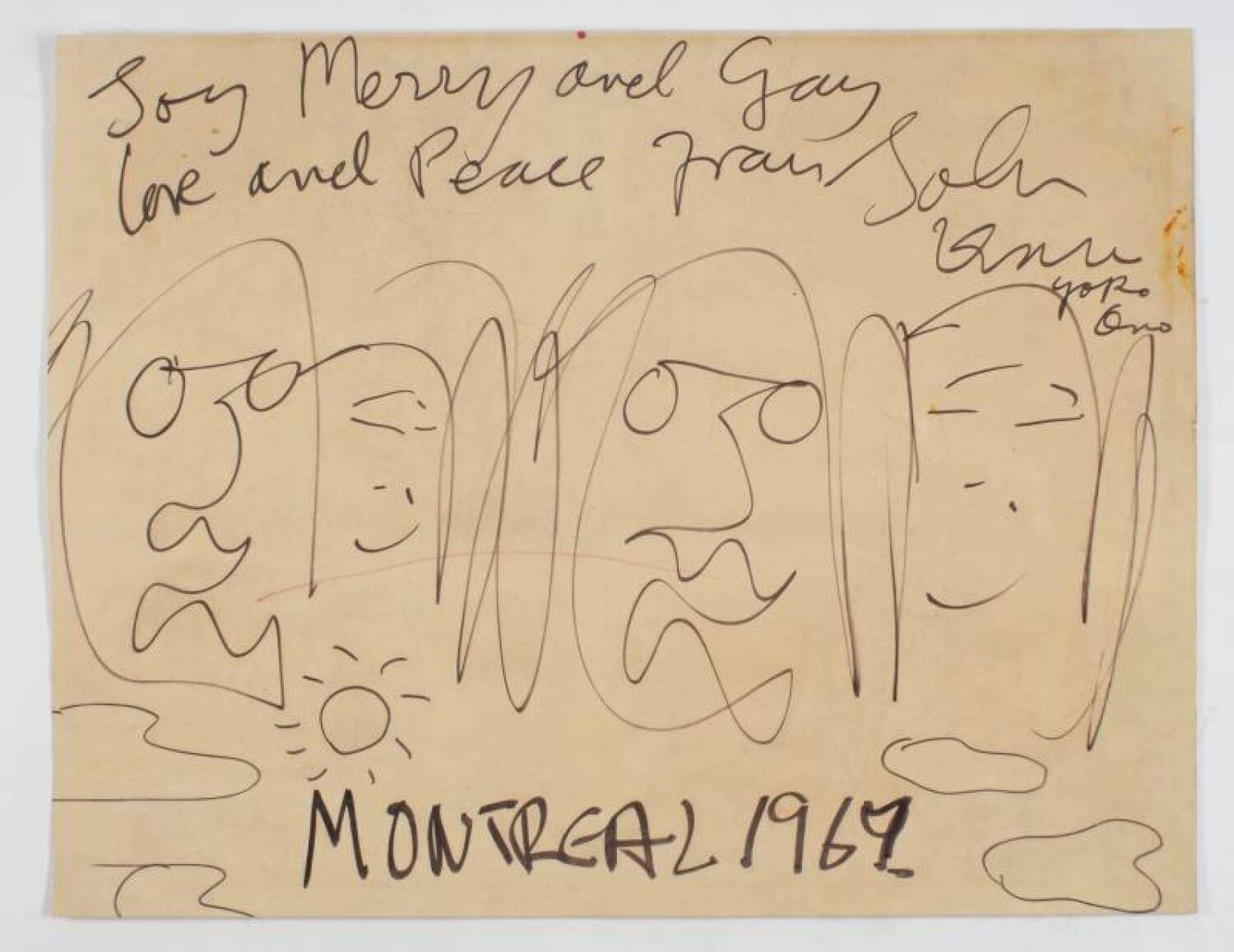 John Lennon Yoko Ono Original Signed Bed In Drawing