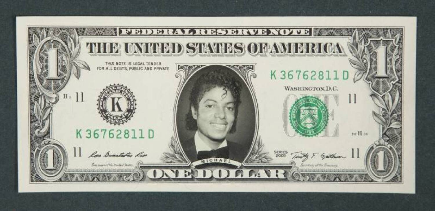 MICHAEL JACKSON SIGNED ONE DOLLAR BILL - Current price: $900