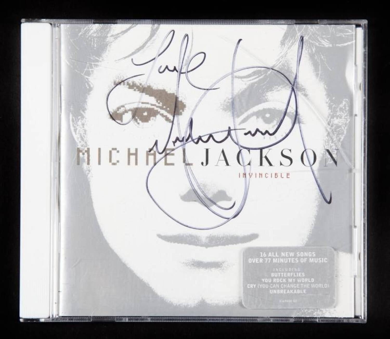 MICHAEL JACKSON SIGNED INVINCIBLE CD - Current price: $750