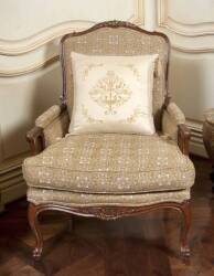 PAIR OF ROCOCO STYLE ARMCHAIRS WITH CUSTOM LOOSE PILLOWS