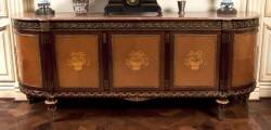 SIDEBOARD WITH MARBLE TOP AND MARQUETRY FRONT