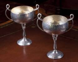 PAIR OF ART NOUVEAU STYLE HAMMERED METAL CHALICES