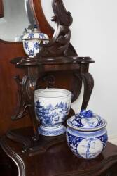 GROUP OF SEVEN BLUE AND WHITE ASIAN LIDDED BOWLS AND A CACHEPOT