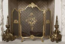 ROCOCO STYLE FIRESCREEN WITH ANDIRONS