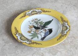 PAIR OF ASIAN YELLOW RIMMED BIRD PLATES