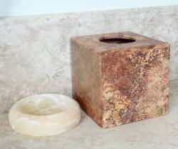 TRAVERTINE TISSUE BOX AND STONE SOAP DISH