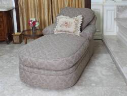 GEORGE SMITH STYLE UPHOLSTERED CHAISE LOUNGE WITH NEEDLEPOINT PILLOW