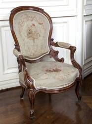 PAIR OF ROCOCO REVIVAL NEEDLEPOINT CHAIRS