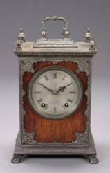 A J. MOLENKAMP WOOD AND METAL MANTEL CLOCK
