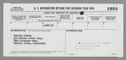 MARILYN MONROE 1099 TAX FORM FROM 1954