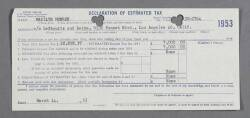 MARILYN MONROE 1953 DECLARATION OF ESTIMATED TAX