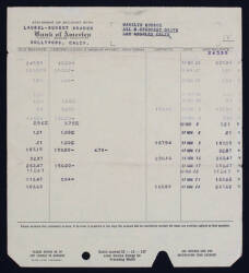 MARILYN MONROE'S BANK STATEMENT FROM BANK OF AMERI