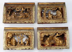 SET OF FOUR CHINESE RELIEF CARVED GILDED PANELS