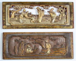 PAIR OF CHINESE RELIEF CARVED GILDED PANELS