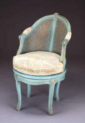 LOUIS XV STYLE BLUE CANED CHAIR