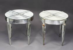 PAIR OF ROUND MIRRORED END TABLES