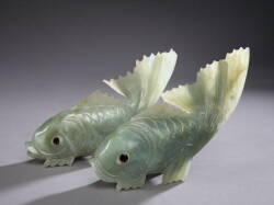 PAIR OF CHINESE CARVED JADE CARP