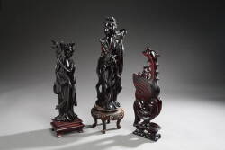 GROUP OF THREE CHINESE BLACK HARDSTONE FIGURINES