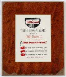 BILL HALEY'S BILLBOARD TRIPLE CROWN AWARD PLAQUE