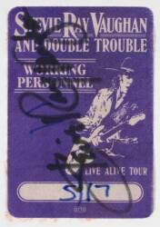 STEVIE RAY VAUGHAN SIGNED BACKSTAGE PASS