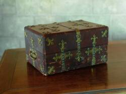 NAPOLEON III LEATHER CASKET, GIROUX