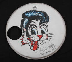 BRIAN SETZER SIGNED STRAY CATS DRUM HEAD