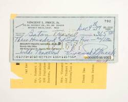 VINCENT PRICE SIGNED CHECK