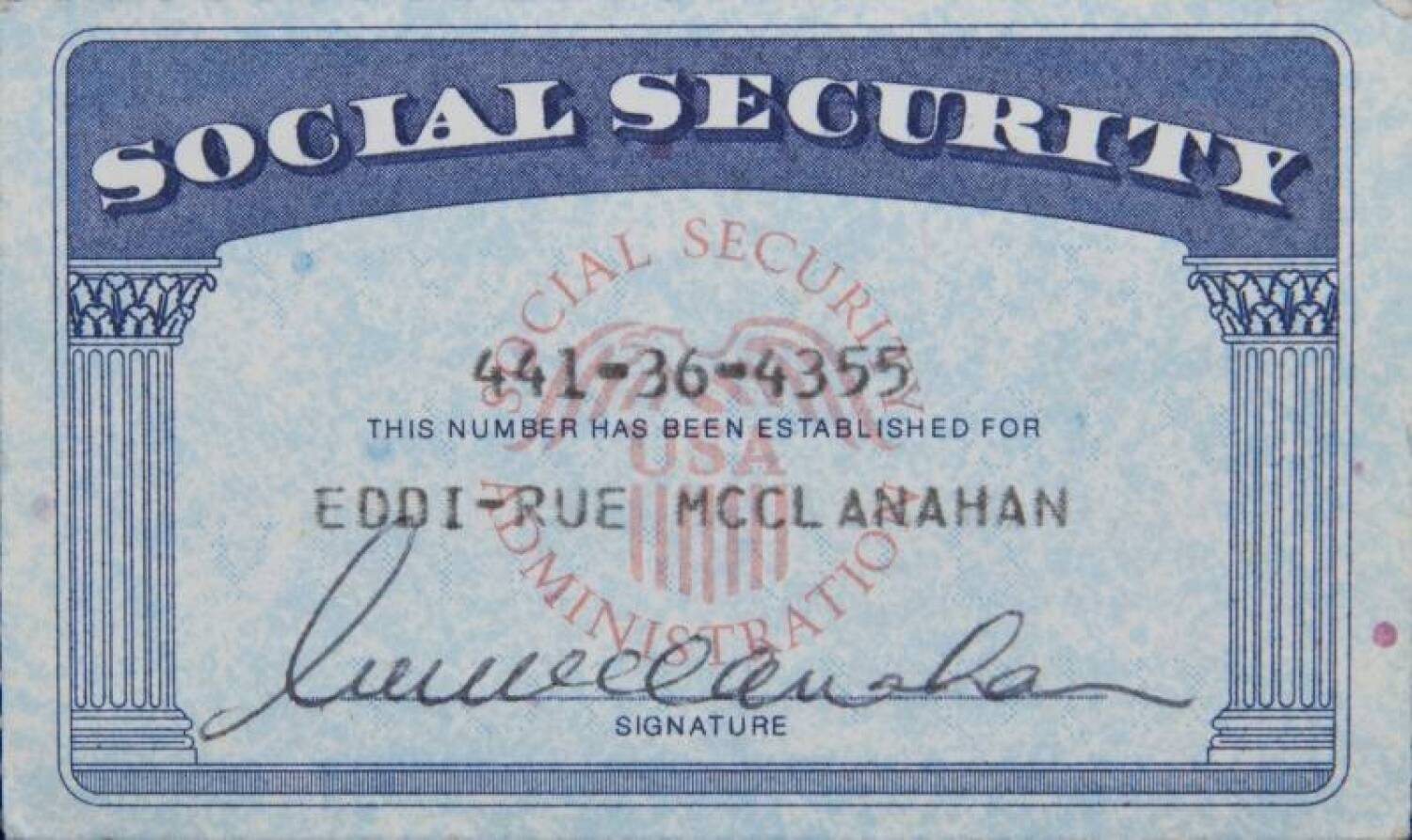 Rue mcclanahan social security card current price 150 for Make a social security card template