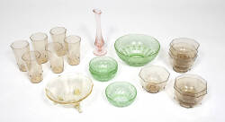 RUE McCLANAHAN GROUP OF DEPRESSION GLASS ITEMS